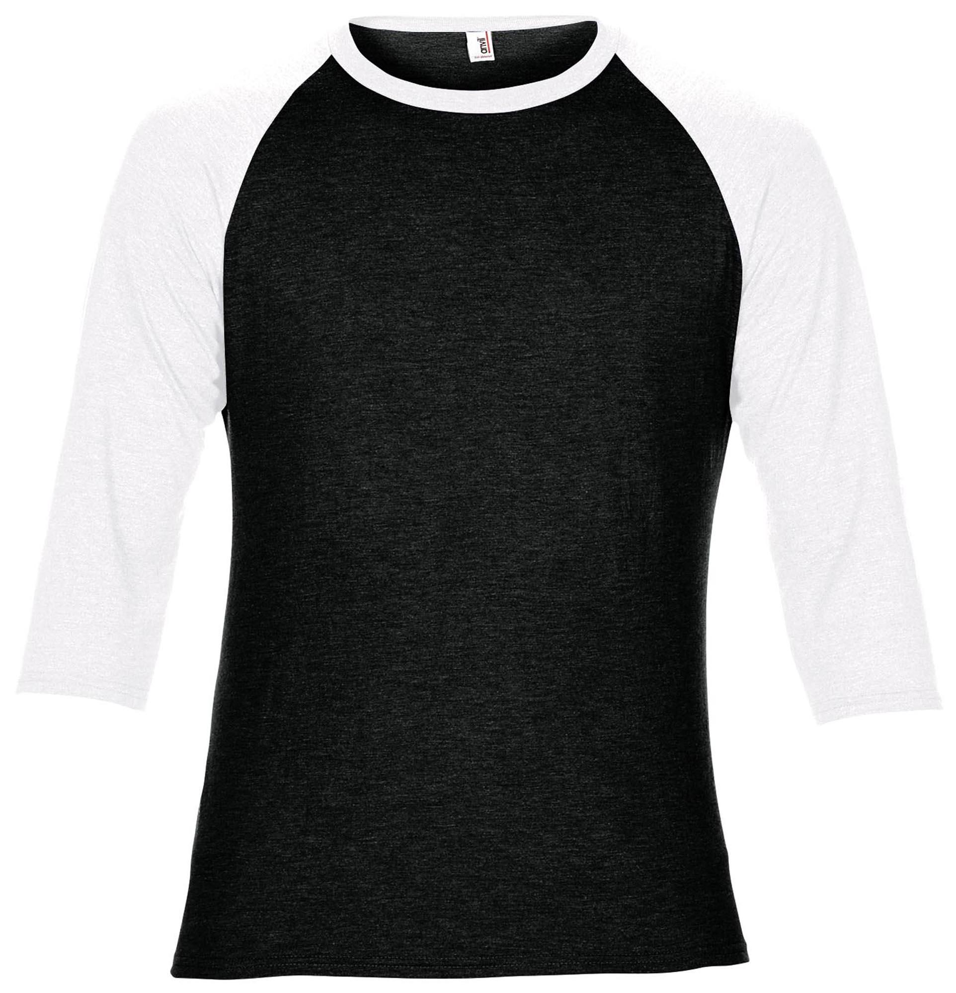Anvil AV114 Adulti Triblend 3//4 Sleeve Raglan Tee in bianco pianura-shirt grala AV114
