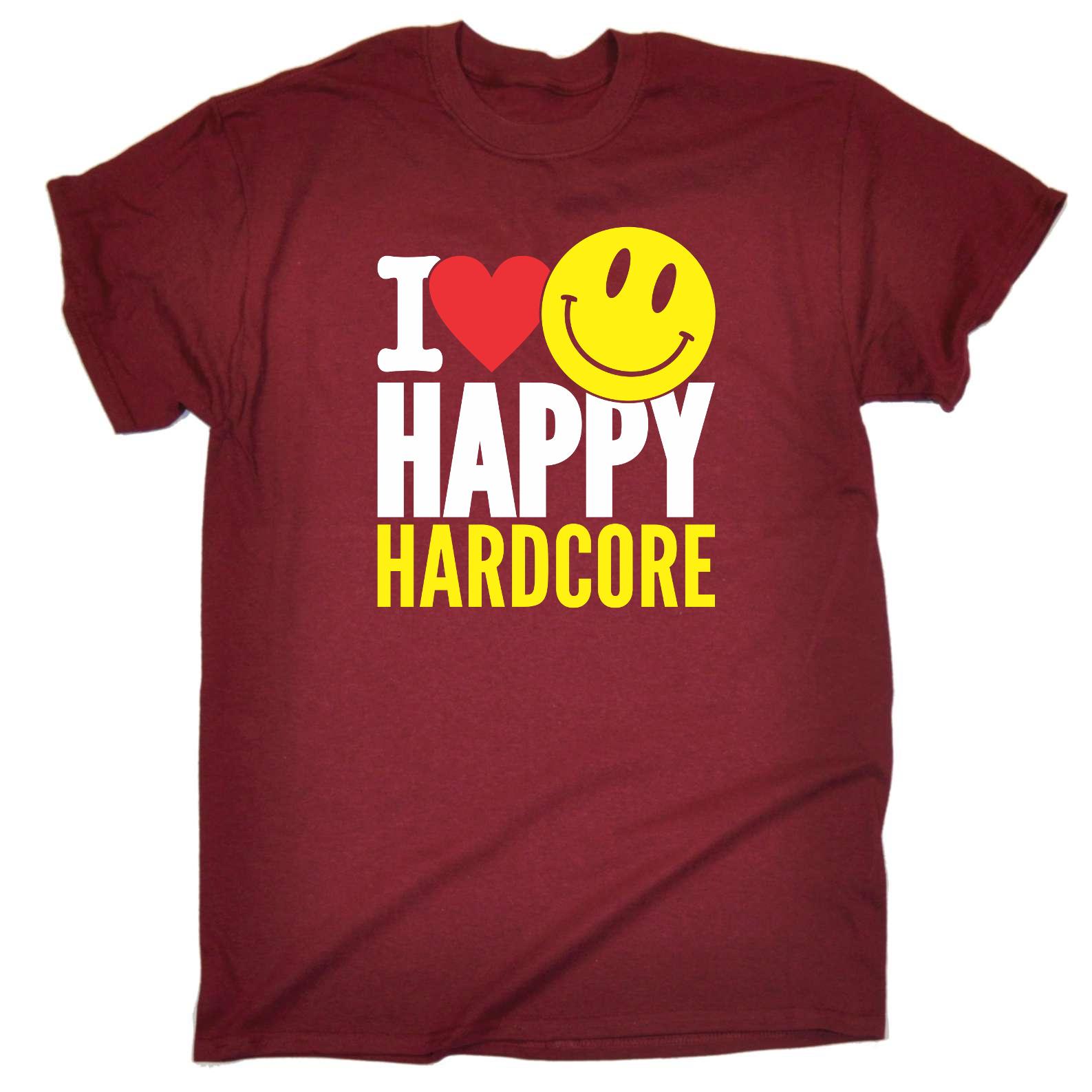 Funny Novelty T-Shirt Mens tee TShirt I Love Happy Hardcore Rave Music